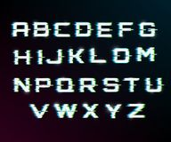 Vector distorted glitch font. Modern style lettering typeface. Latin letters from A to Z.  blue and greenchannels. Glow effect Royalty Free Stock Photography