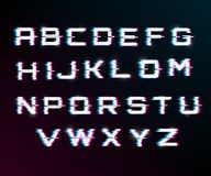 Vector distorted glitch font. Modern style lettering typeface. Latin letters from A to Z.  blue and red channels. Glow effect Royalty Free Stock Photo