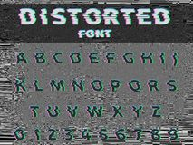 Vector distorted glitch font. Trendy style lettering typeface. Dark latin letters on gray glitched background Royalty Free Stock Photos