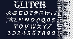 Vector distorted glitch font. Trendy style lettering typeface. Latin letters from A to Z and numbers from 0 to 9. Computer screen error. Digital pixel noise Vector Illustration