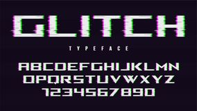 Vector distorted glitch style font design, alphabet, typeface, t. Ypography, letters and numbers. Swatch color control Stock Photo