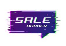 Vector distorted glitch style promotion banner, price tag, speec. H bubble, sticker, badge, poster Royalty Free Stock Images