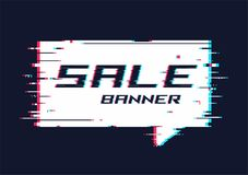 Vector distorted glitch style promotion banner, price tag, speec. H bubble, sticker, badge, poster Stock Image