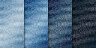 Vector diverse blauwe achtergronden van kleurenjeans, de realistische illustratie van de denimdoek, reeks verticale banners met b Royalty-vrije Stock Afbeeldingen
