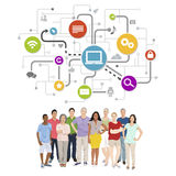 Vector of Diverse People with Social Media Symbols Royalty Free Stock Images