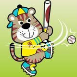 Vector divertido de la historieta del jugador de béisbol ilustración del vector