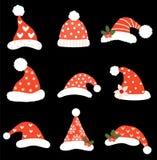 Vector divertido de la Navidad fijado con los sombreros de Papá Noel ilustración del vector