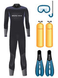 Vector diving equipment Stock Photo