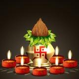 Vector diwali background. Vector indian festival kalash with diya Stock Images