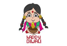 Vector Diwali Cartoon Illustration. Of Girl In Traditional Dress And Holding Diya In His Hand. Isolated On White Background vector illustration