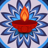 Vector Diwali lamp beautiful rangoli art  Stock Photo