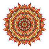 Vector diwali mandala. Hand drawn diwali mandala. Doodle mandala with fire ornament. Red, orange, yellow colors. Vector diwali mandala Stock Photo