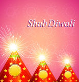 Vector Diwali shiny crackers indian festival background. Vector Diwali shiny crackers indian festival colorful background Stock Photo