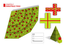 Vector DIY pattern for a Christmas tree and boxes Stock Image