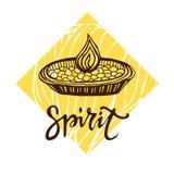 Vector diya oil indian lamp. Happy Diwali fectival poster. Spirit calligraphic text. Vector diya oil indian lamp. Happy Diwali fectival poster. Spirit Stock Image