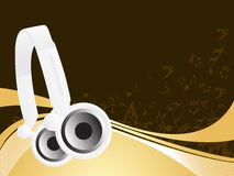 Vector dj headphones with music note background Royalty Free Stock Photos