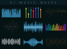 Vector DJ sound waves set. Colorful abstract futuristic equalizer. stock illustration