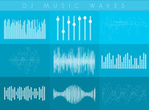 Vector DJ sound waves set. White transperant color. Colorful abstract futuristic equalizer. Stock Image