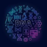 Vector DNA colorful round illustration or symbol. Made with double helix and other science outline icons on dark background Stock Photos