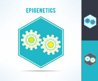 Vector dna epigenetics and genetics mechanism symbol. Cell with gears design element Royalty Free Stock Photos