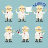 Vector do caráter engraçado velho do cientista da ilustração dos desenhos animados vidros e o grupo vestindo do revestimento do l ilustração stock