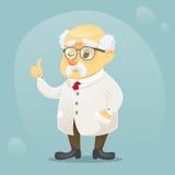 Vector do caráter engraçado velho do cientista da ilustração dos desenhos animados vidros e o revestimento vestindo do laboratóri ilustração stock