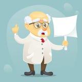 Vector do caráter engraçado velho do cientista da ilustração dos desenhos animados vidros e o revestimento vestindo do laboratóri ilustração royalty free