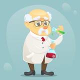 Vector do caráter engraçado velho do cientista da ilustração dos desenhos animados vidros e o revestimento vestindo do laboratóri ilustração do vetor