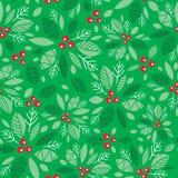 Vector do feriado verde da baga do azevinho da hortelã o fundo sem emenda do teste padrão Grande para o empacotamento temático do Fotos de Stock Royalty Free