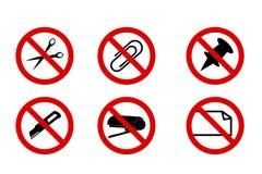 Do Not Cut, Scissor, Stapler, Clip, Pinned, Fold, Isolated on White. Vector Do Not Cut, Scissor, Stapler, Clip, Pinned, Fold, Isolated on White Royalty Free Stock Photos