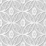 Vector do Oval sem emenda do fundo 205 do teste padrão da arte do papel 3D do damasco a flor transversal ilustração stock