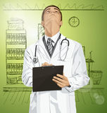 Vector Doctor Man With Clipboard Stock Images