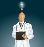 Vector Doctor Man With Clipboard Royalty Free Stock Image