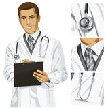 Vector Doctor Man With Clipboard Royalty Free Stock Photos