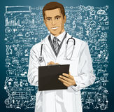 Vector Doctor Man With Clipboard Royalty Free Stock Photography