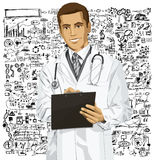 Vector Doctor Man With Clipboard Stock Photography