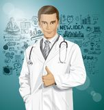 Vector Doctor With Stethoscope Royalty Free Stock Photo