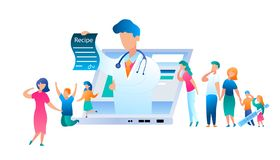 Vector Doctor Online has Written Treatment Recipe. Illustration Group People Turned Help to Pediatrician. Family with Sick Child. Use Laptop for Communication vector illustration