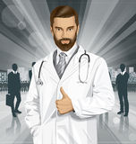 Vector Doctor With Stethoscope. Vector doctor man with stethoscope shows well done Royalty Free Stock Image