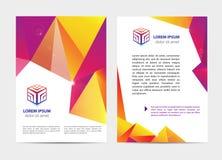 Vector document, letter or logo style cover brochure and letterhead template design mockup set for business. Presentations, geometric cube logo. Flyer, modern royalty free illustration
