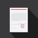 Vector of Document with long shadow style Royalty Free Stock Photo