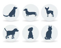 Vector dog breeds silhouettes collection  on white.  icons  for cynology, pet clinic and  shop. Vector dog breeds silhouettes collection  on white. Dog icons Stock Photos