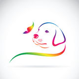 Vector of dog and butterfly. Royalty Free Stock Photography