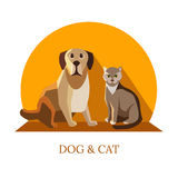 Vector dog and cat flat design - friendly pets -pet shop design template Royalty Free Stock Images