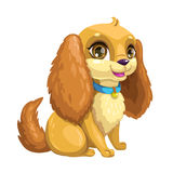 Vector dog icon. Little cute cartoon sitting puppy with long ears. Vector dog icon, isolated on white background
