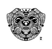 Vector dog pug style zentangle. Style graphic illustration zentangle 2018. Sketch of a tattoo totem Royalty Free Stock Photos