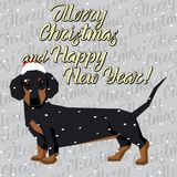 Vector Dogs Collection. Vector Christmas polygon dog collection. Dog in Christmas Santa hat. Dachshund Stock Photography