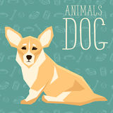 Vector Dogs Collection. Vector geometric dogs collection with seamless background. Welsh Corgi Stock Photo