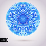Vector doily watercolor vector gzhel pattern. Decorative white a Royalty Free Stock Images