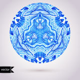 Vector doily watercolor vector gzhel pattern. Decorative white a Royalty Free Stock Photos